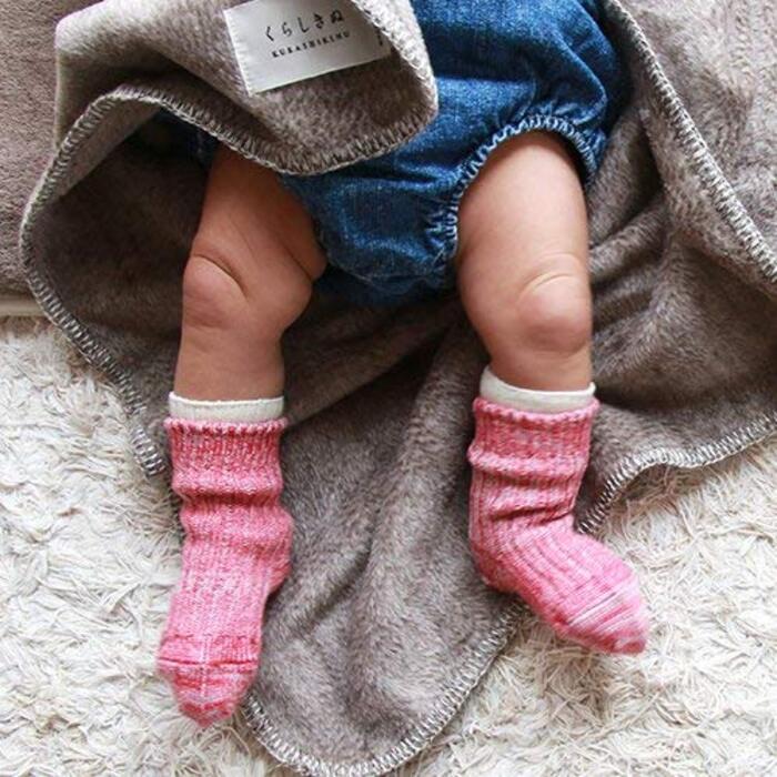 くらしきぬ シルク&ウール ベビー用冷えとり靴下 【日本製】~15cm(すもも)