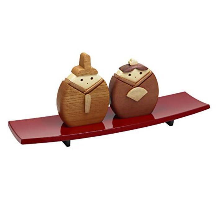 手作り 木製 雛人形 座り雛 越前塗漆器飾り台付き