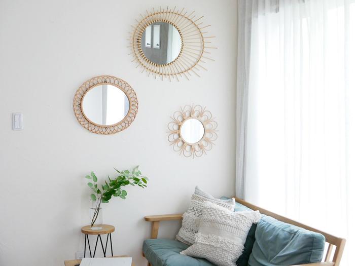 また、こちらのブランドでは様々な形の鏡をご用意♪上記のラタンミラー soleil Lも良いですが、お部屋によってはミニサイズの鏡をチョイスするのもおすすめです*可愛いお部屋にしたい方にもぴったりな鏡となっています◎