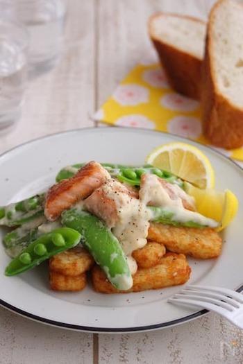ローディット・フライは、冷凍フライトポテトがあれば手軽に作ることができます。レモンの風味が爽やかなソースが、サーモンとも野菜とも好相性。パンを添えれば、あっという間にディナーの完成です。