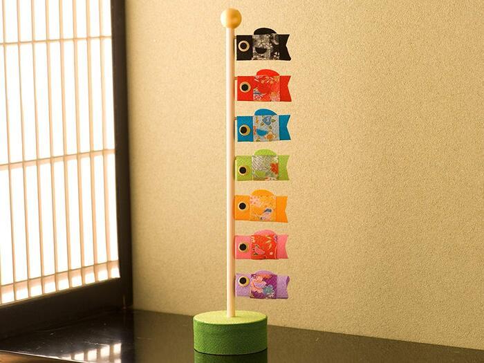 (ファンファン) FUN fun 鯉のぼり 五月人形 室内 ちりめん コンパクト 風水鯉のぼり 名入れ 麻の葉藍