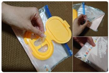 ビニール袋の収納に使ってます。  ジップロックに穴を開けて、100均とかで売ってる「ウェットシートの蓋」をつけてます。  袋の半分の大きさの紙を真ん中に挟んで、フニャッとならないようにしてます。  高さがちょうど良くなるよう、下側は折ってマステでとめてます。