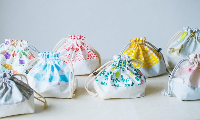 こちらはこども用お弁当袋のキットです。テキスタイルはどれもシンプルで可愛く、選ぶのに迷うほど。デザインを決めかねたら、洗い替え用にいくつも作りたくなってしまうかもしれません。