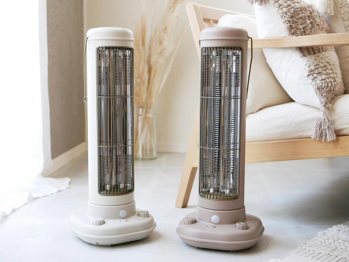 どこか懐かしさを感じるデザインがインテリアに馴染む、「BRUNO(ブルーノ)」のカーボンファンヒーター。約10秒の立ち上がりの早さですぐに暖まるから、朝起きてすぐや帰宅時の寒いお部屋、お風呂上りの脱衣所にあったらうれしいコンパクトなファンヒーターです。