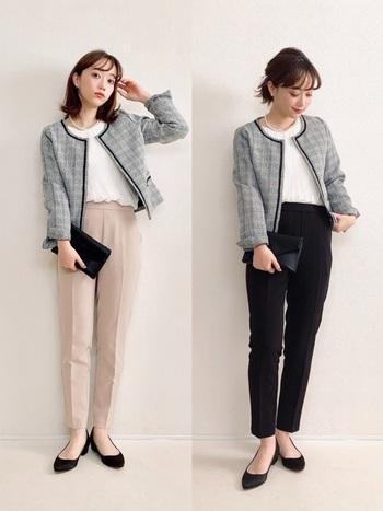 冬に使えるこのきちんと感あるジャケットもなんとしまむら!ノーカラーデザインで女性らしい仕上がりです。黒スキニーと合わせて、さらにきちんと感。レディースオフィスカジュアルのお手本のようなコーデです。