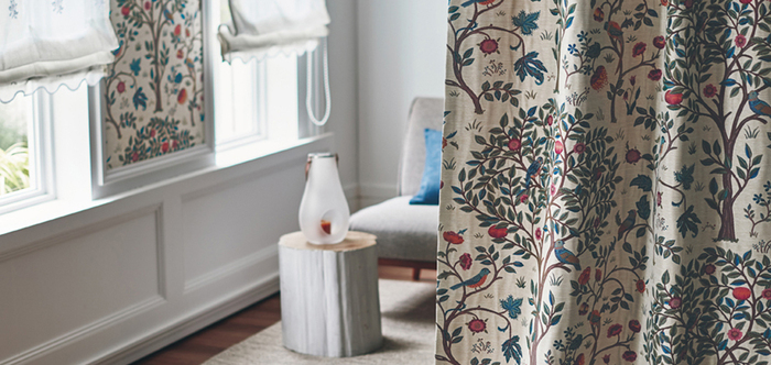こちらの〈ケルムスコットツリー〉はウィリアム・モリスの夏の別荘、ケルムスコット・マナーの寝室にある四柱式寝台を囲むファブリックからインスパイアされ、現在のモリススタジオのデザイナー、アリソン・ジーによってデザインされた作品です。