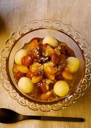 金時豆を使ったぜんざいは、黒砂糖を使うことでコクをプラス◎小豆よりも大粒で、絹ごし豆腐の白玉や寒天と一緒にいただけば食べ応え◎ほっと懐かしい気持ちになれる和風デザートです。