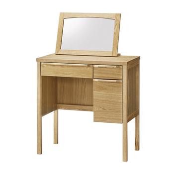 お部屋は常にキレイに片付け、生活感をなくす事も大切です。強度のあるアッシュ材で美しく馴染みの良い木目のミラー付きドレッサー。メイク道具やスキンケアアイテムをたっぷりと収納できます。