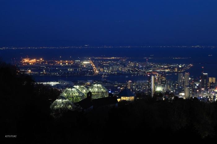 高台に位置する布引ハーブ園の展望プラザは、神戸市街地と神戸港を一望することができる眺望スポットとしても有名です。夜になると、展望プラザからは宝石箱のように美しい神戸市街地の夜景を一望することができます。
