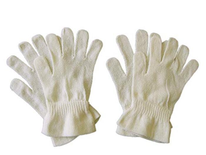 シルク100%手袋(2双組)おやすみ手袋 リラックス手袋 保湿 絹