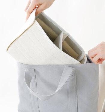 ボックスはバッグから取り出せるので、お掃除やお洗濯もしやすい。カメラバッグとして使わない時は、普通のバッグとして使えそうです。