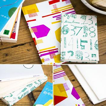 2019年夏のワークショップ『製図から学べるハードカバー表紙制作』では、貼り箱の技法を用いて、本やノート、スケジュール帳をハードカバーに変身させました。