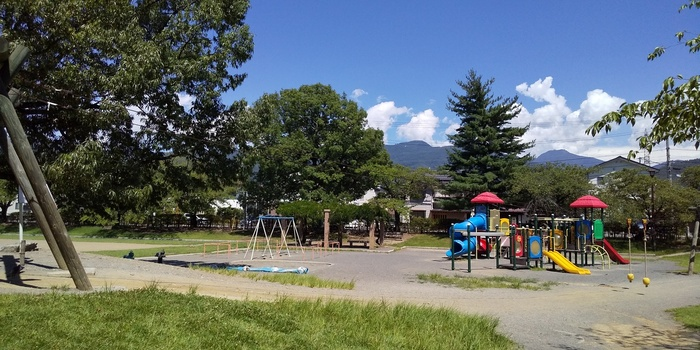 池には、鯉や亀が泳いでいます。また、子どもが楽しめるエリアもあり、東側には駐車場もあります。