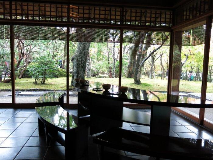縄文時代の土器から鎌倉・室町時代に制作された六古窯の壺や甕、そして江戸時代に至る日本の焼物を中心とした美術館。自然の山水美と人によってつくられた庭園美を調和させた庭園の中にあります。  こちらは敷地内にある、茶室「真和亭」。四季折々の苔庭の風景を眺めながら、立礼席で季節のお菓子と抹茶をいただけます。紅葉が多く植わっているので、秋の紅葉は格別です。