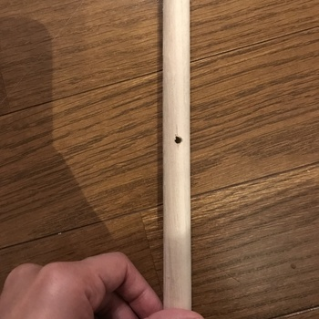 支柱用の棒は、ドリルで穴をあけます。穴を開ける場所は上から15~20cmくらいのところが良いですが、仕上がりを想像しながらお好みで。 ※穴の開いていない棒をただ束ねるだけでもOKですが、穴にロープを通した方がより安定します。