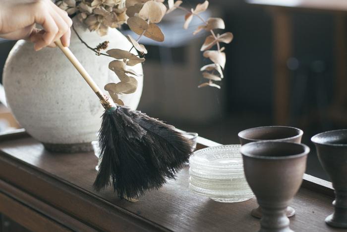 オーストリッチの羽は繊細なタッチでほこりを払うことができます。大切なもののお手入れに、気が付いたときにサッとできる手軽なお掃除方法です。ディスプレイや照明、パソコンのお掃除にも。
