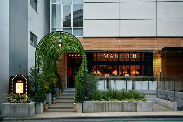 【マディソン ニューヨーク キッチン】はNYのビストロをイメージしたというカフェダイニング。緑のアーチをくぐると、シェードランプの優しい明かりが来る人を迎えてくれます。