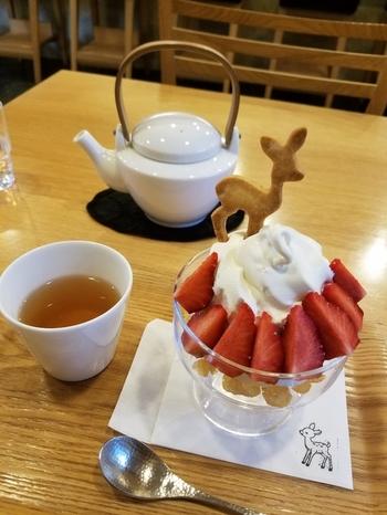 「CAFE HAYASHIYA(カフェ ハヤシヤ)」では、自家製バンビクッキーが乗ったパフェが大人気。下に敷いてあるバンビのスタンプが押されたペーパーナプキンもキュートです。ソフトクリームのトッピングは季節のフルーツなので、訪れたシーズンで違いを楽しむこともできますよ。