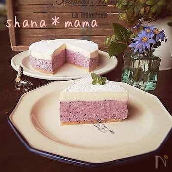 ブルーベリーを混ぜ込んだ生地と、プレーン生地の2層になったケーキです。見た目からして美味しそう!材料をミキサーに入れ、型に流して冷やすだけというお手軽さも嬉しいですね。