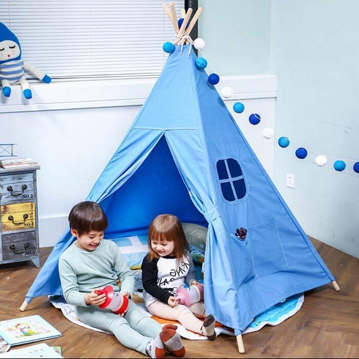 キッズテント おもちゃ テントハウス 子供用 室内テント(ブルー)