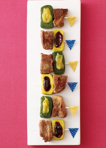 豚のグリルの旨みと、生麩のやさしい味わいが絶妙!生麩の色もきれいで、おもてなし時にもよいですね。