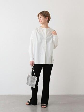 プレーンなブラウスは、シンプルにパンツに合わせて着こなして。パイソン柄のバッグなどでコーデにトレンド感のあるスパイスを加えましょう!