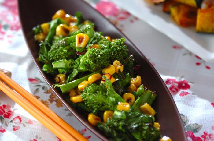 ガーリックが香ばしいイタリアンな一品。菜の花の美味しさを堪能できるペペロンチーノです。パスタなどに添えるのもいいですね。