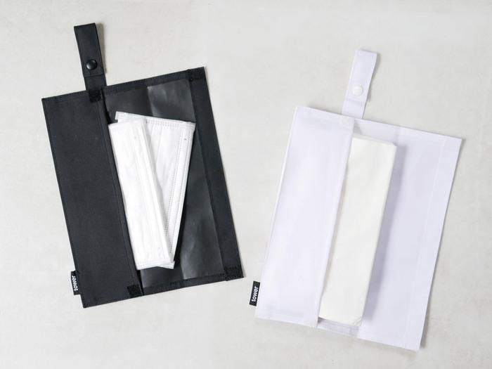 スナップボタンが付いたティッシュケース。マスクケースとしても使用することが出来ます。どちらも衛生的に使用したいからこそ、ケースがあると安心です。