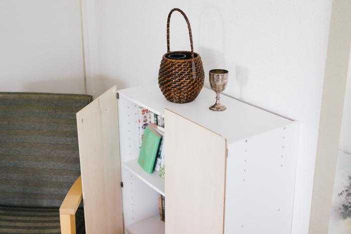 カラーボックスの手前側に板を蝶番で取り付けて、扉付きで生活感を目隠しするアイデア。カラーボックスを2つ繋げて両開きにしたり、棚ごとに個別に扉を付けるのも◎
