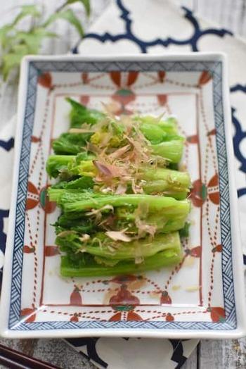 春野菜の代表格、菜の花。おひたしでシンプルにいただくのが、まずは基本でしょうか。柔らかな苦味を楽しみましょう。