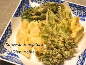 苦味のある山菜は、油を使うことでとても食べやすくなります。アク抜きもいりません。こごみや行者にんにくなどでもおいしくできます。