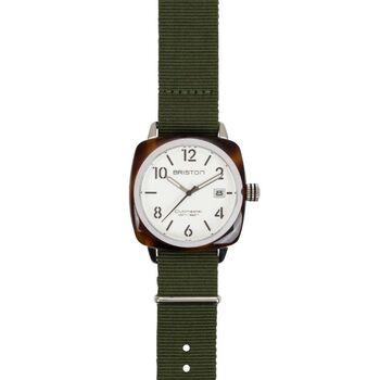 新進気鋭のフランスのウォッチブランド「BRISTON(ブリストン)」の腕時計。アセテートのフレームと、簡素な文字盤、そしてNATOベルト。ごく普段着な雰囲気でありながら、どこにもない独特な佇まいが魅力。'飾らないのにおしゃれ'な風貌に思わず惹きつけられます。