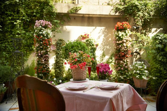 花々に囲まれたテラスと、可愛らしく上品な店内は、南フランスを思わせる雰囲気で女子会にぴったりです。愛犬と一緒に入店することも可能です。
