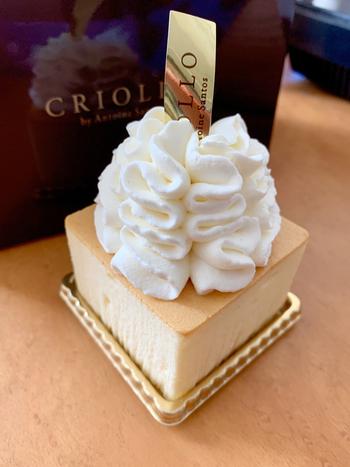 こちらは、それをカットしてホイップクリームでデコレーションした「ガトー・フロマージュ」。テイクアウトはもちろん、店内のカフェスペースでゆったりいただくこともできますよ。
