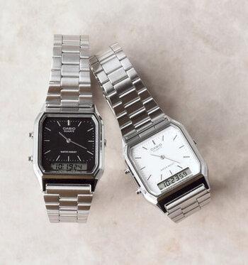言わずと知れた、世界に羽ばたく日本の電子機器メーカー「CASIO(カシオ)」の腕時計。デジタルとアナログの両方を兼ね備えた文字盤は見やすく、デイリーユースにぴったり。
