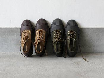 こちらは140年以上の歴史がある老舗靴メーカー「MOONSTAR(ムーンスター)」のハイカットスニーカー。ミリタリーテイストなデザインとしっかりとラバーで覆われた全天候型仕様が魅力です。