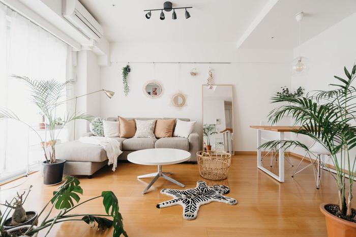 こちらブラウンやベージュなどのアースカラーでまとめたナチュラルな空間。ブラウンのクッションが家具やバスケットのカラーとマッチしていますね。明るいブラウン系は膨張色なので部屋を広く見せる効果も。観賞植物がよくマッチするお部屋です。