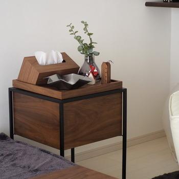 こちらのブロガーさんの使っているサイドテーブルは、コンパクトサイズでありながら収納力はバツグン♪天板にはフチがあるので、物が落ちにくい作りです。観葉植物や小物、ティッシュケースなどの定位置に。そして、天板を外すと……