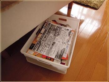 こちらのブロガーさんは、ベッドの下を紙ごみの収納場所に生かしています。収納ボックスをDIYしているのもポイント!100均のキャスター付きすのこの上に、滑り止めシートを敷いて、ケースを乗せているのだそう♪見栄えが気になってしまう紙ごみなどの置き場所として、ベッドの下は最適ですね。