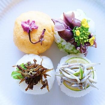 まん丸おにぎりにはそれぞれ、桜塩漬け、いかなごの釘煮、いかなごの釜揚げ、ほたるいかと菜の花。春が揃ったおにぎりです。