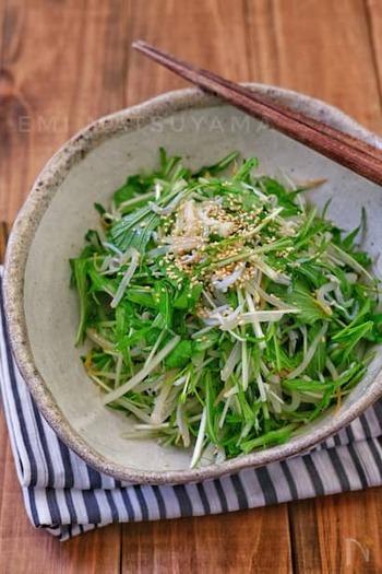 さっとゆでるのは、もやしのみ。水菜はカットして、しらずと和えれば、シャキッとサラダ感覚でいただけるナムルのできあがりです。