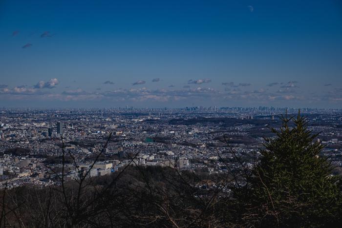 高尾山の山頂からは、素晴らしい眺望が待っています。ここからは、広大な平野となっている東京都の市街地を一望することができます。