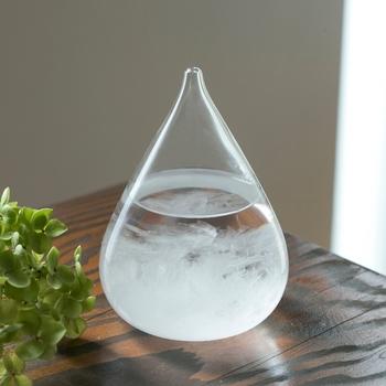気象の変化で中の結晶が変化するストームグラス。気温や天候によって刻々と表情を変えるから、毎日見ても見飽きない。