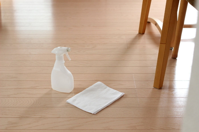 ポイントは、腕を伸ばし床を押すようにしっかり雑巾がけをすること。パーツを意識することで二の腕の運動になります。途中、雑巾を動かす手を交代しながら左右のバランスよく行いましょう。手足で体重を支えるので、体幹も鍛えられますよ。