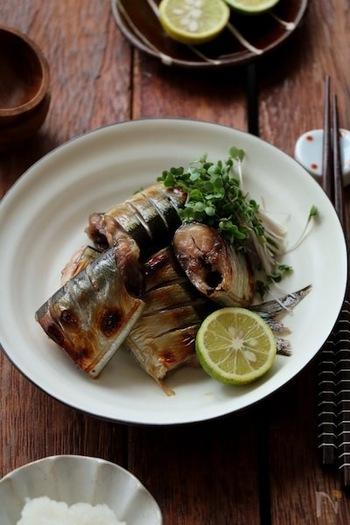 【待ち時間:1時間】 冷蔵庫でつけ込むだけで、味がしっかり染みた秋刀魚のみりん漬けが完成。ごはんがすすむ一品です。