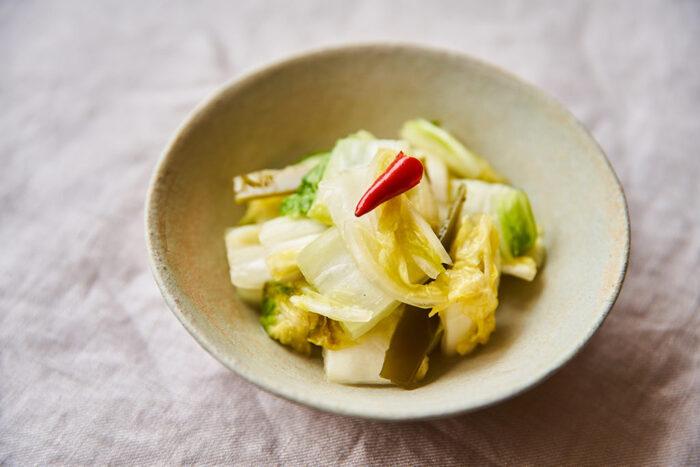 乳酸菌がたっぷり含まれた酵素白菜。塩でもんで漬け込むだけで作れます。常温で4日ほど置いておくのがポイントです。一度作っておけば冷蔵庫で1週間〜2週間保存可能!  忙しい朝はご飯と酵素白菜、そしてお味噌汁でもバッチリです。お鍋の具材に使っても◎。