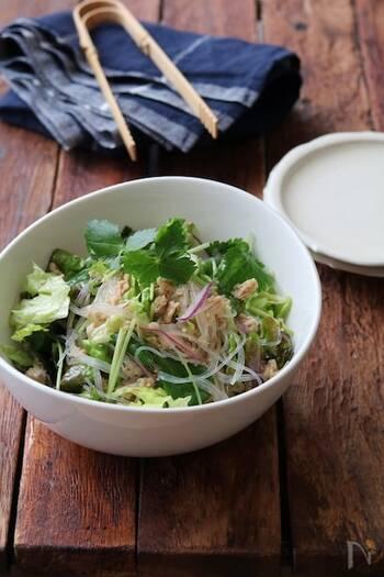 こちらは鶏そぼろをサラダに和えてアレンジするレシピ。作り置きの鶏そぼろでパパっと作るのもおすすめです。レタスや春雨との食感が楽しいサラダ。レモン汁とゴマ油で食欲そそる香りです♪