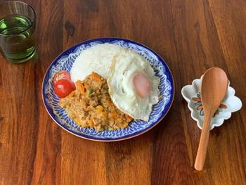 和洋折衷なデザインで、どんな料理とも相性がいい器です。特に、アジアンフードはよく似合います!ナシゴレンやグリーンカレーなど、料理のルックスがワンランク上がり、より美味しく感じられそう。ワンプレートで、おにぎりやだし巻き卵を乗せて朝ごはんにするのも素敵。気づくと毎日使っているようなプレートです。