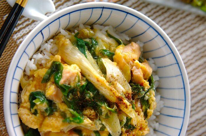 卵の黄色×青ネギの緑が美しい、とっておきの親子丼。お鍋でさっと作って丼にのせればすぐ完成の、失敗知らずのレシピです。簡単なので、献立作りに悩んだ時におすすめ。