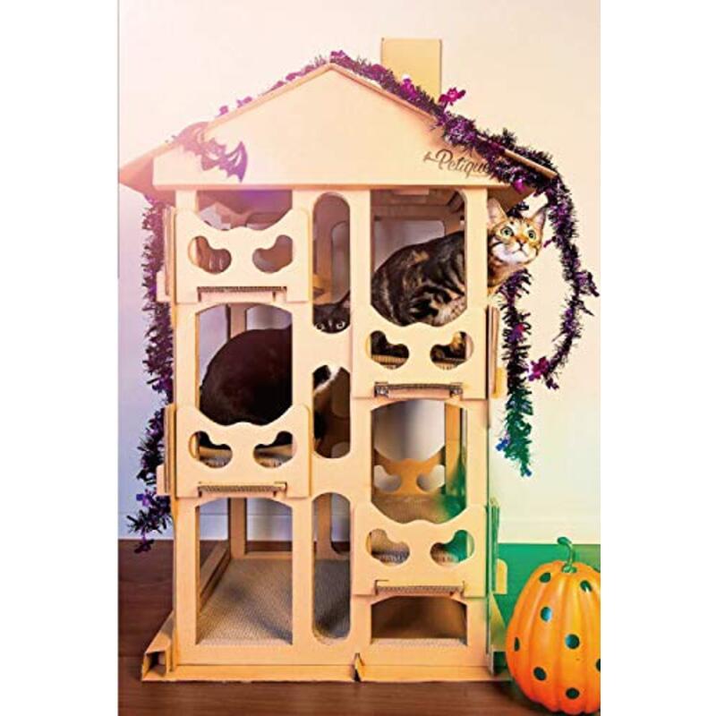 Petique キャットタワー [ キャットハウス/据え置き型 : 大型猫対応 ] 高圧縮紙ダンボール素材 簡単組立
